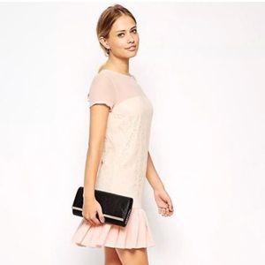 ASOS Pink Lace Chiffon Peplum Hem SS Dress